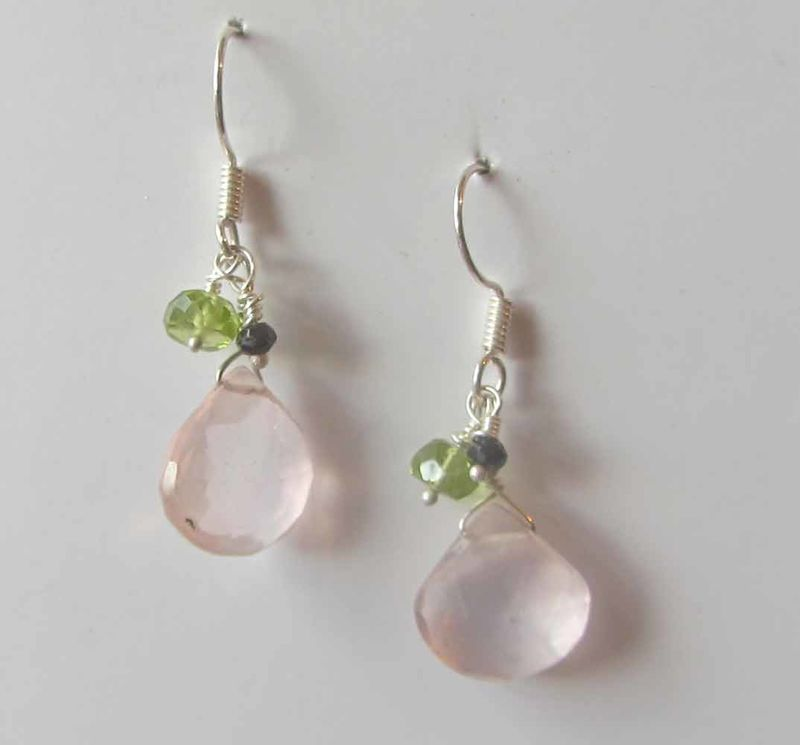 Rose quartz, peridot, spinel cluster earrings - product images  of