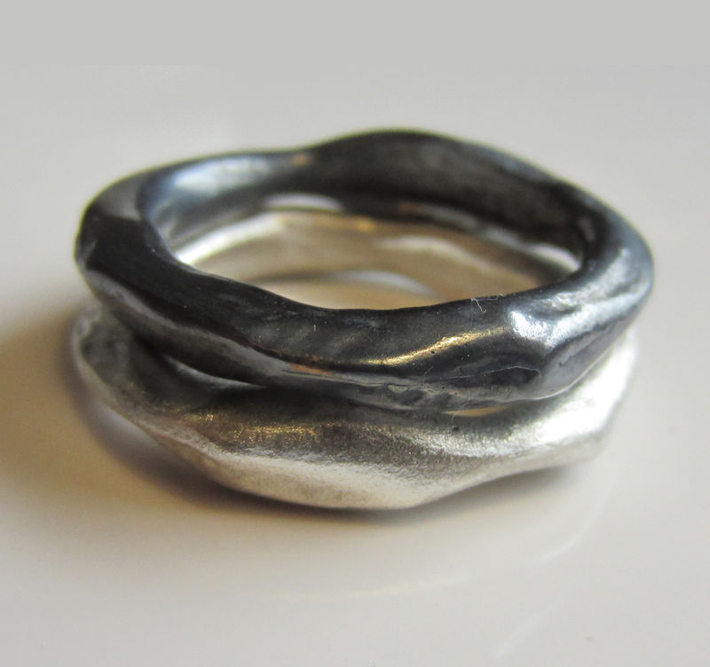 Wide Organic Molten in Oxidised sterling silver - product images  of