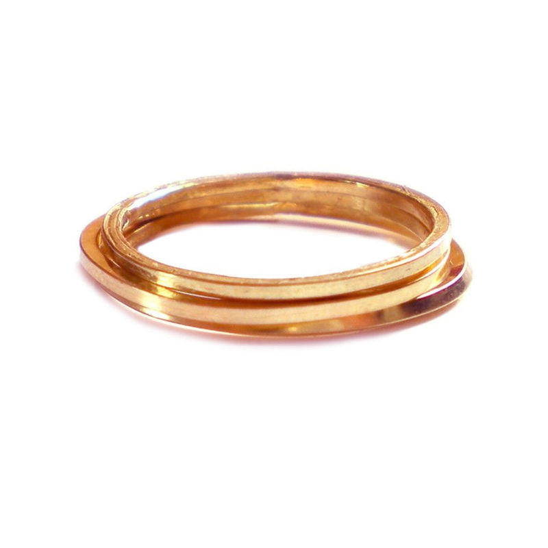 Set of 3 minimalist rings in 18ct rose gold - product images  of
