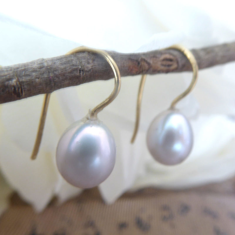 Dove Grey Teardrop Pearls Earrings - product images  of