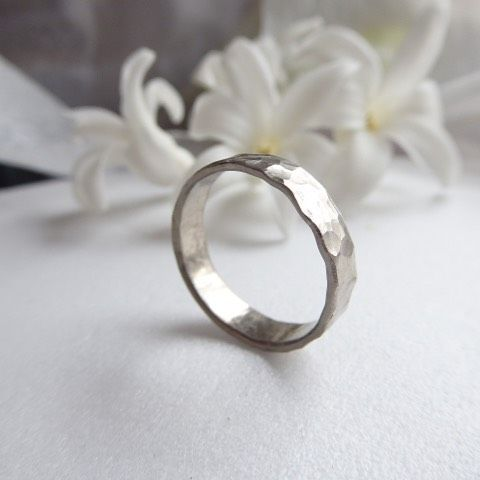 18ct recycled white gold wedding ring hammered 5mm wide - product images  of