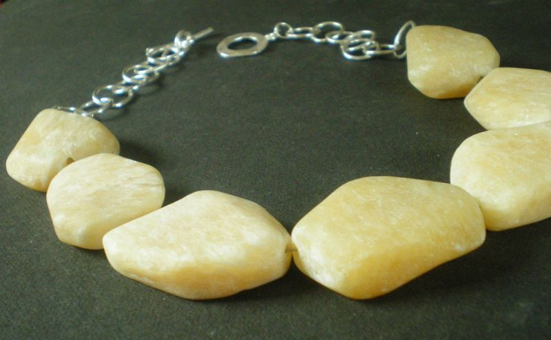 Sterling Silver Necklace with large yellow Calcite Nuggets - product images  of