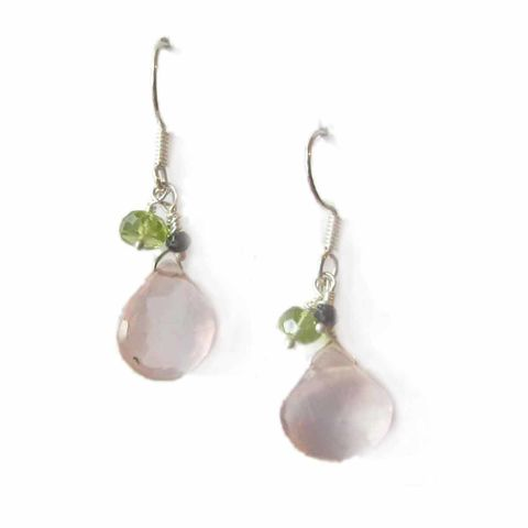 Rose,quartz,,peridot,,spinel,cluster,earrings,cluster gemstones earrings, summer essential, teardrop gemstones dangly earrings, rose quartz earrings, black spinel, green peridot