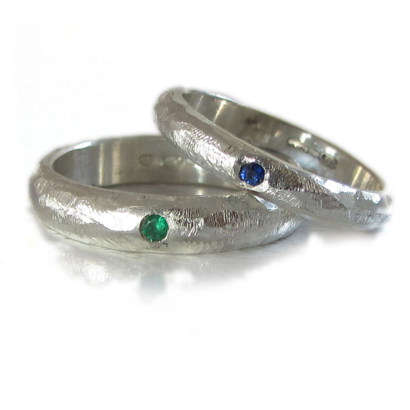 Sterling Silver D-Ring with a Blue Sapphire and engraved message - product images  of