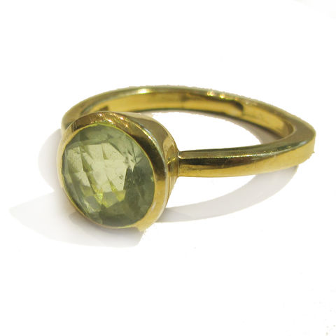 Gold,plated,Green,Prasiolite,Ring,prasiolite ring, gold plated ring,london ethical jeweller, catherine marche, bling ring, statement jewellery, green gemstone cocktail ring