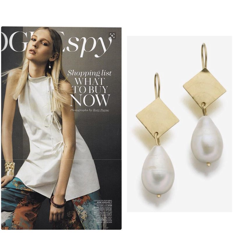 Big Baroque Pearls 18K Yellow Gold Earrings, as seen in British Vogue - product images  of