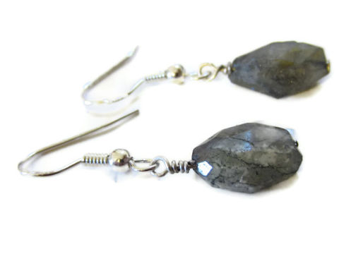 Asymetric,Labradorite,nuggets,earrings,gemstone nuggets jewellery, labradorite earrings, grey gemstones