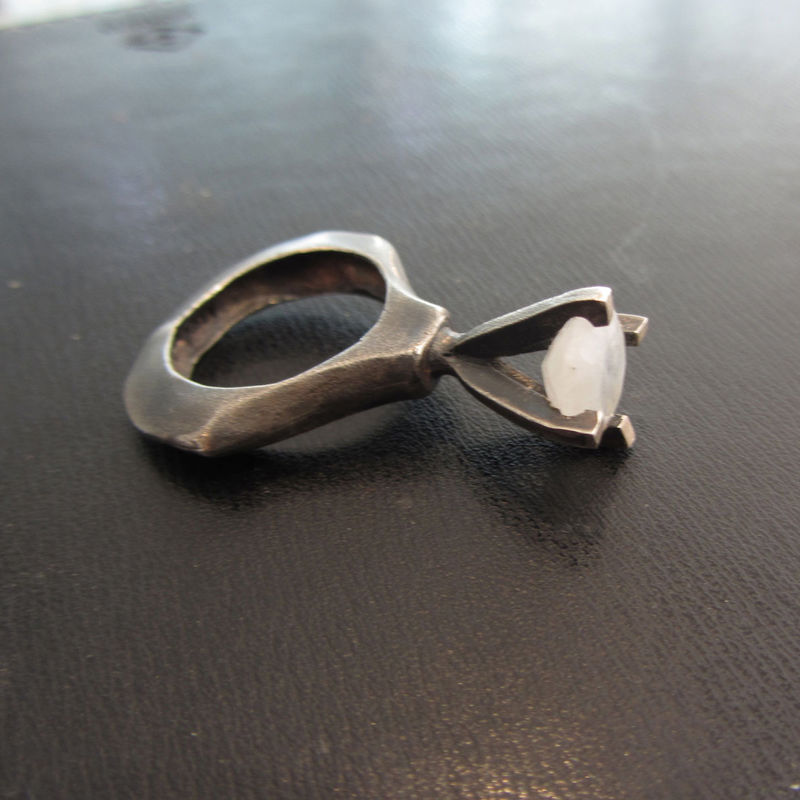 Passionata Nera Sculptural sterling silver Ring with blue Moonstone - product images  of