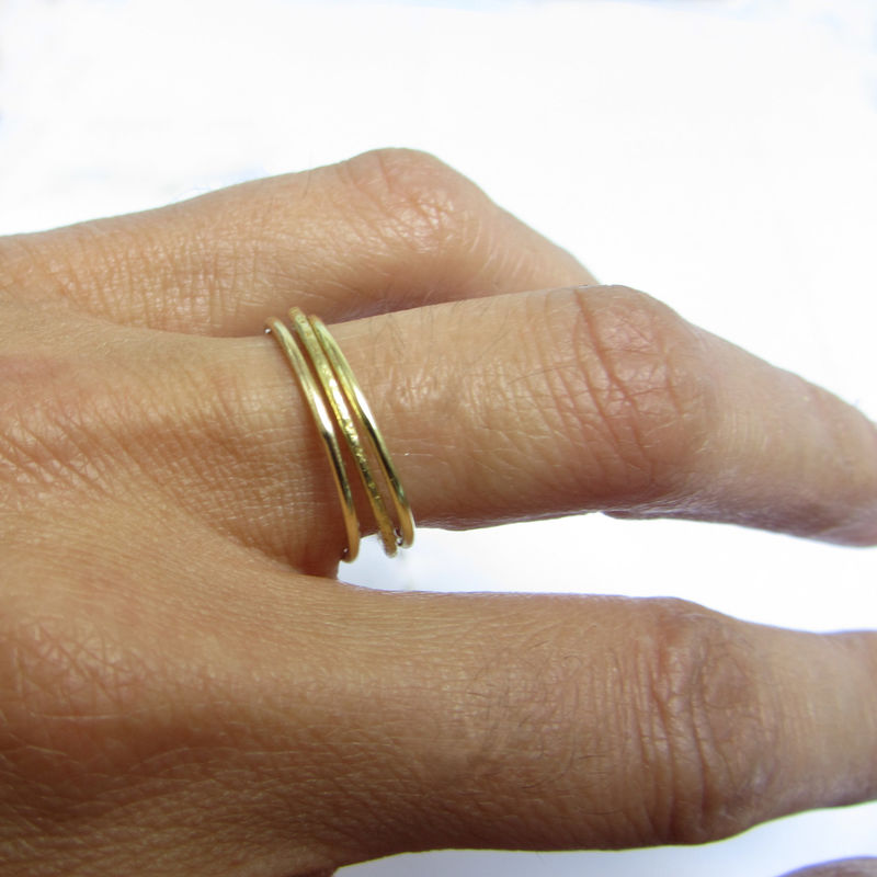 Set of 3 minimalist rings in 18K gold - product images  of