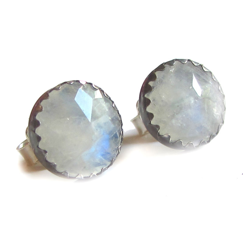 Milky Moonstone Stud Earrings - product images  of