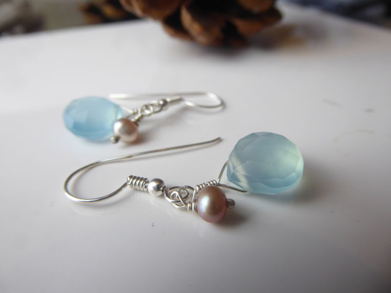 Aqua Blue Chalcedony and pearls Teardrop Earrings - product images  of