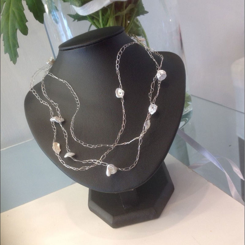 White Keshi Pearls Sterling Silver Necklace - product images  of