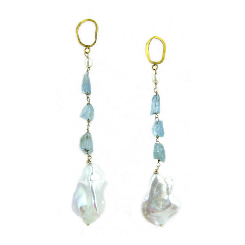 Rough,Aquamarine,and,Baroque,Pearls,Earrings,aquamarine earrings, baroque pearls earrings, precious bridal jewellery, luxury jewellery, recycled gold earrings, long drop earrings, drop dead gorgeous, jewelry for business women, long statement earrings