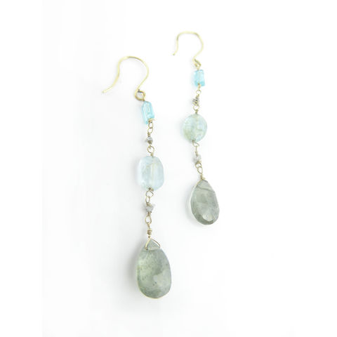 Rough,Diamonds,and,Aquamarine,18K,gold,Earrings,rough diamonds earrings, raw diamonds earrings, grey diamonds jewellery, aquamarine earrings, moss aquamarine earrings, 18K recycled gold jewellery, catherine marche jewellery, french fashion designer, sustainable jewelry