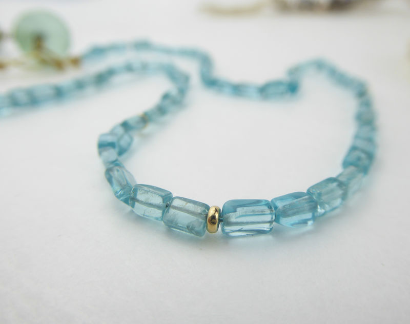 Blue Apatite 18K gold Necklace Zen attitute - product images  of