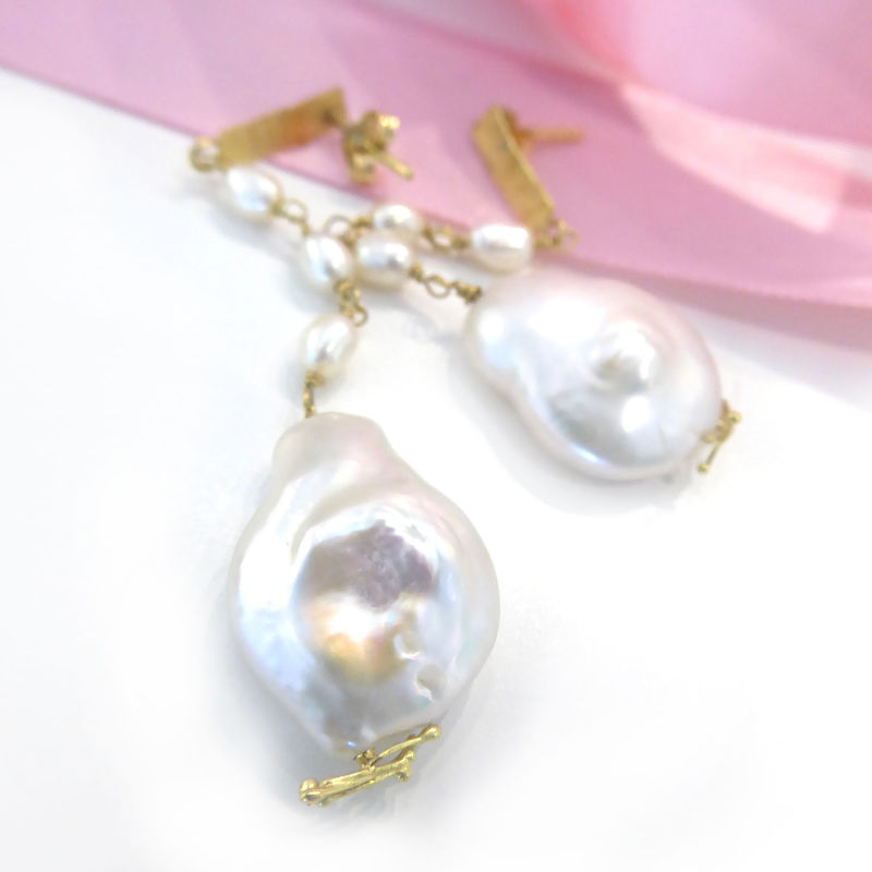 Baroque Pearls 18K gold Dangle Earrings - product images  of