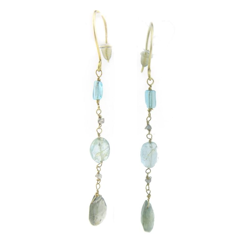 Rough Diamonds and Aquamarine 18K gold Earrings - product images  of
