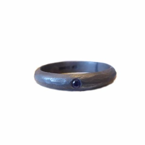 Dark,and,Handsome,Blue,Sapphire,Ring,ring for men, dark silver, black ring, black wedding band, sapphire ring, jewellery for man, men's fashion, recycled silver, oxidised silver