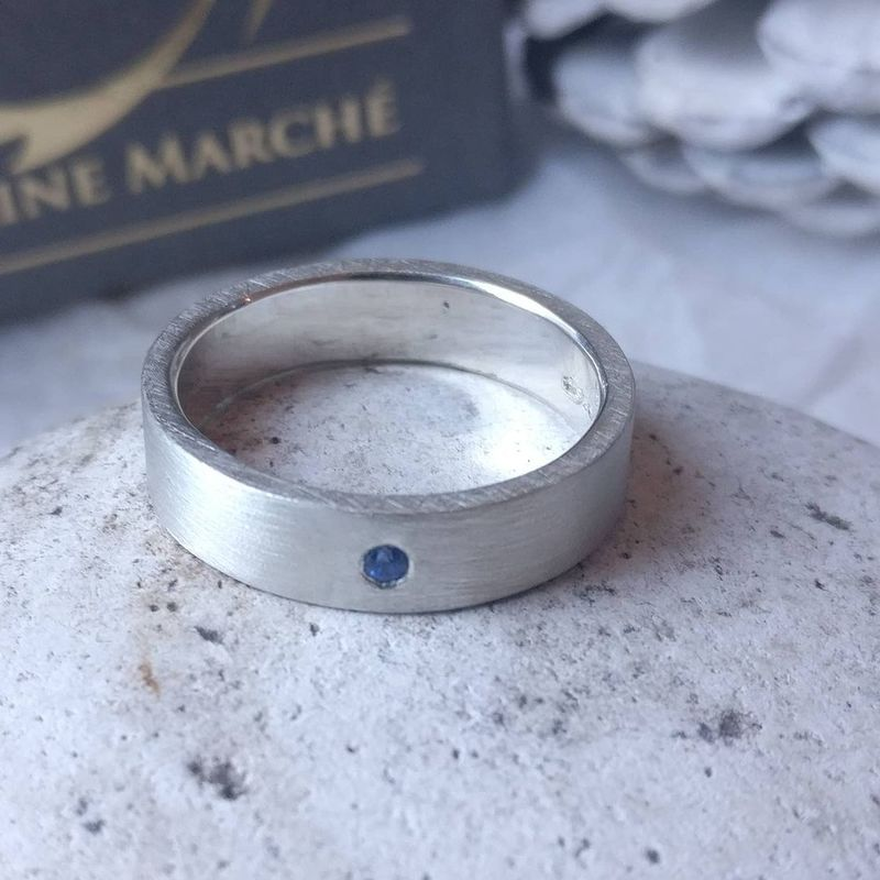 Blue Sapphire Silver Band for Him - product images  of