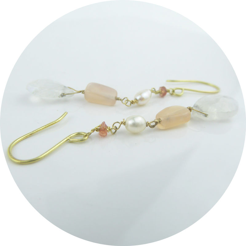 Peach Moonstone and Spinel 18K Gold Earrings - product images  of
