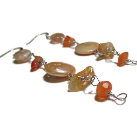 Sunset,Sterling,Silver,earrings,ethical Jewelry,long Earrings,orange gemstones earrings, fine jewellery,elegant,dainty,beaded earrings,yellow_orange,carnelian,made in the uk, golden pearls,citrine,sunstone,sterling silver