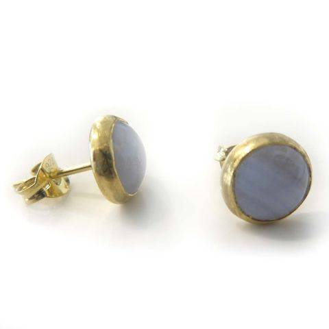 Blue,lace,agate,Vermeil,Stud,Earrings,blue lace agate earrings, stud earrings, something blue, vermeil jewellery, catherine marche
