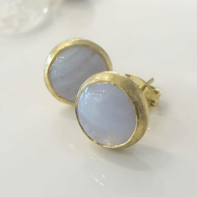 Blue lace agate Vermeil Stud Earrings - product images  of
