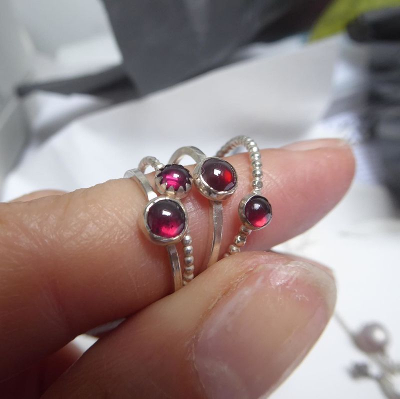 Round stud Earrings with red garnet in sterling silver 925 - dotty collection - product images  of