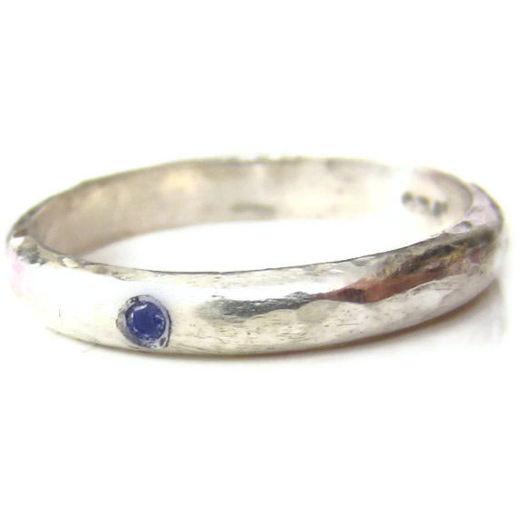 Sterling Silver D-Ring with a Blue Sapphire and engraved message - product images