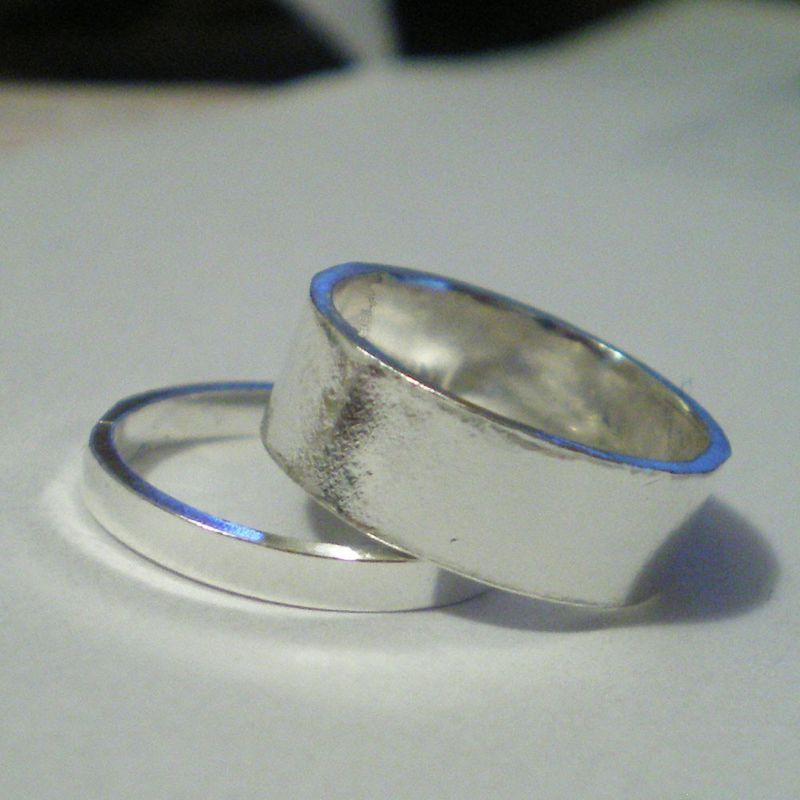 BE MINE - 2 wedding rings - sterling silver bands - product images  of