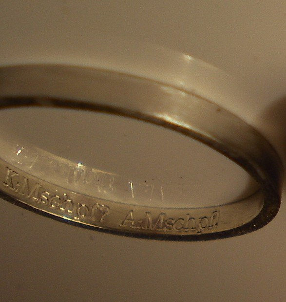 2 wedding rings - engraved message - sterling silver bands - product images  of