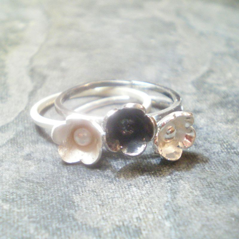 set of 3 BLUM rings sterling silver shiny, frosted, oxidized - stack rings - product images  of