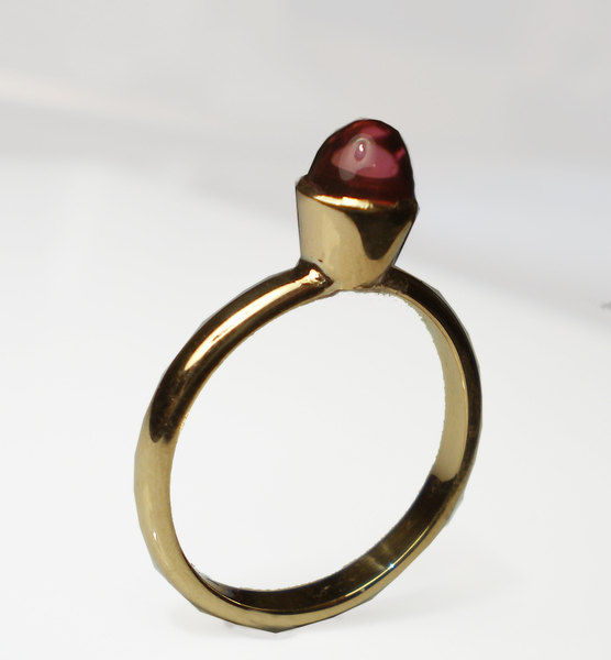 18k gold ring with pink tourmaline bullet - product images  of