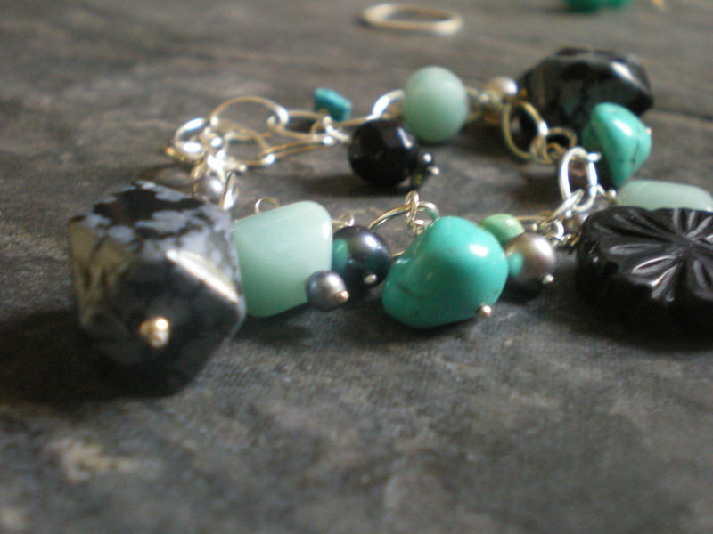 Milli Semi-precious Gemstones sterling silver Bracelet with turquoise and onyx - product images  of