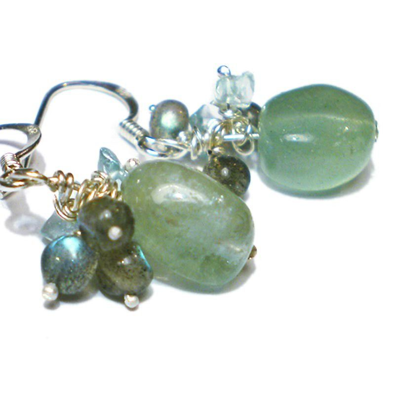 MARINA - Aquamarine and labradorite earrings in sterling silver - product images  of