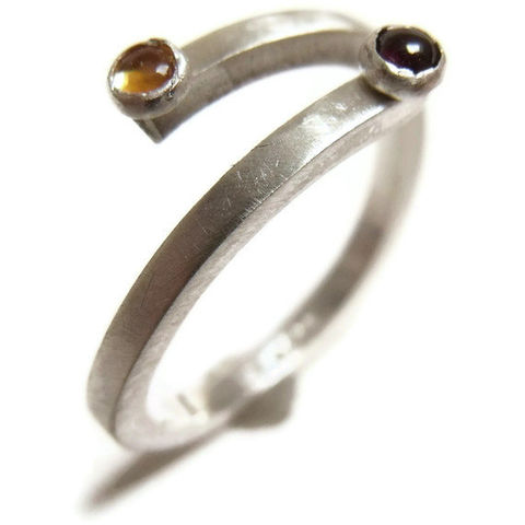 You,and,I,a,Sterling,silver,ring,with,citrine,onyx,gemstones,handmade Jewelry,open silver Ring,Adjustable ring,mini gemstones,citrine and onyx ring, recycled sterling sdilver, yellow and black fashion