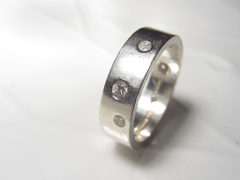 Sterling silver ring with diamond - product images  of