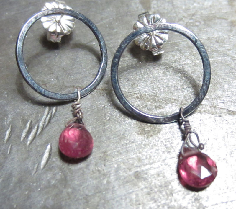 Silver Ear Studs with pink tourmaline gemstones - product images  of