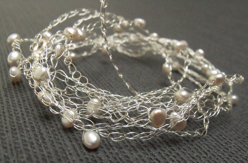 Wrap around bracelet in silver with white pearls - product images  of