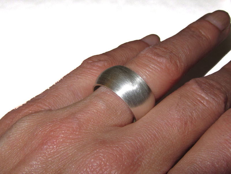 Wide Silver D-Ring with  Blue Sapphire gemstone for men - product images  of