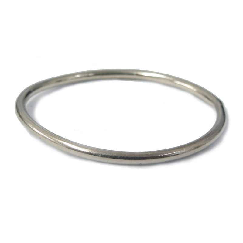 Mini dainty skinny 18K white gold stacking ring - product images  of