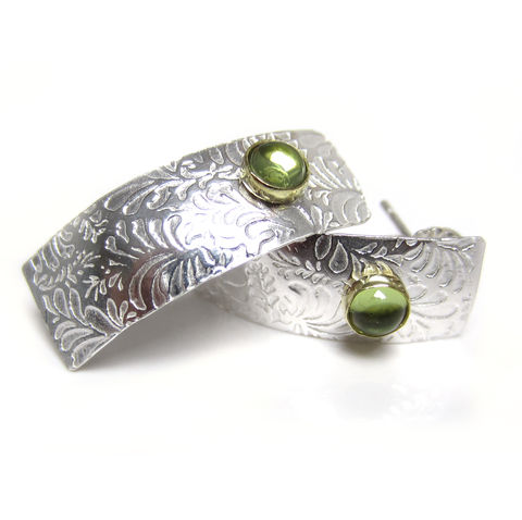 Sterling,silver,long,Studs,with,Peridot,-,Volutes,earrings,volutes, stud earrings, green, peridot, gild, silver,photo etched