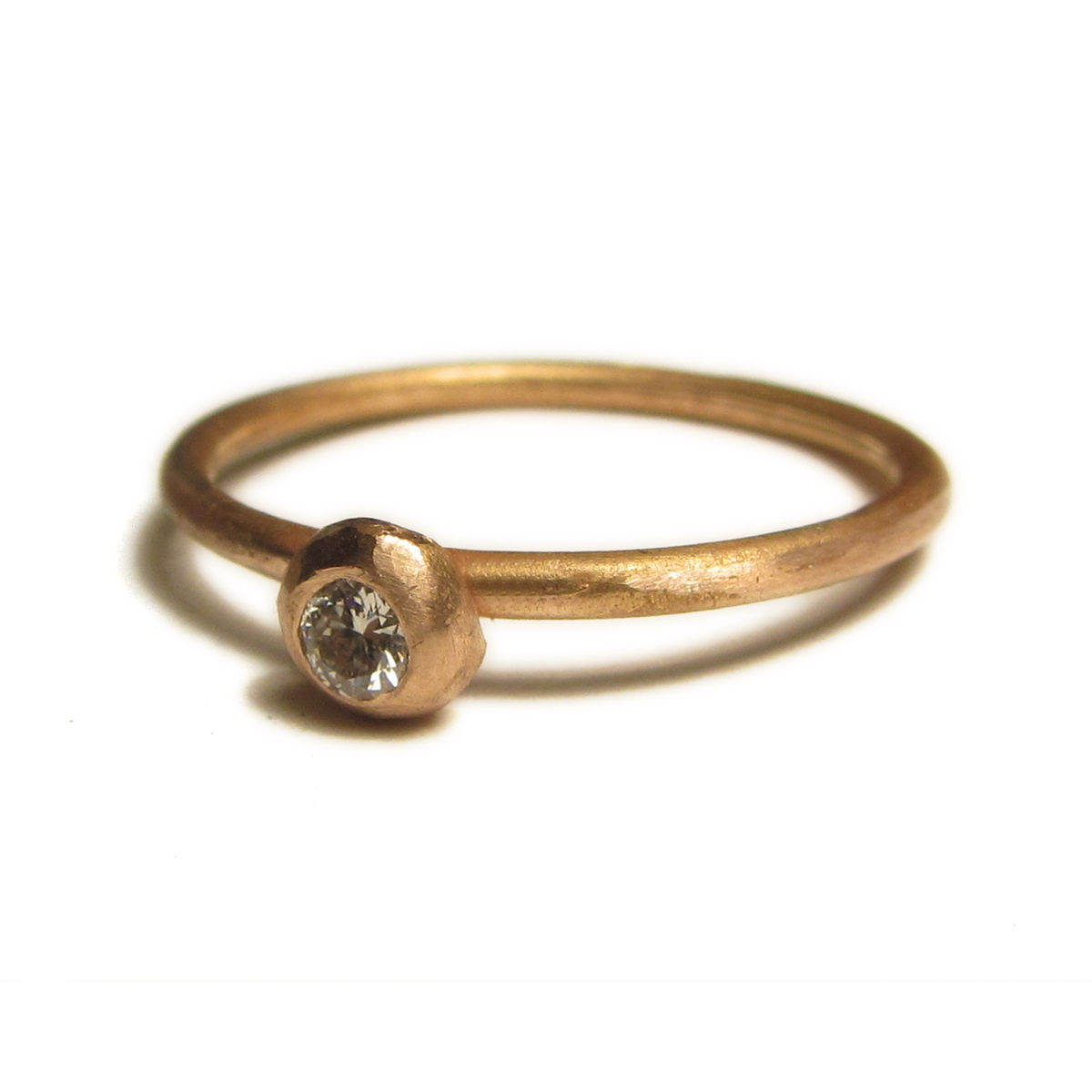 18 carat rose gold ring with diamond stacking rings Catherine