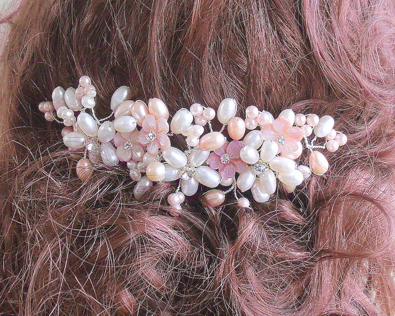 Freshwater pearl peach and white wedding hair comb  - product images  of
