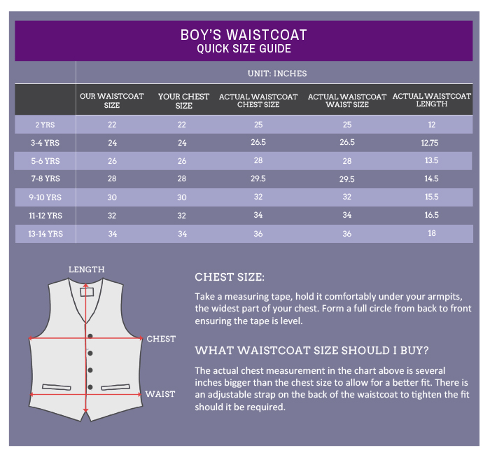 pageboy waistcoat size guide