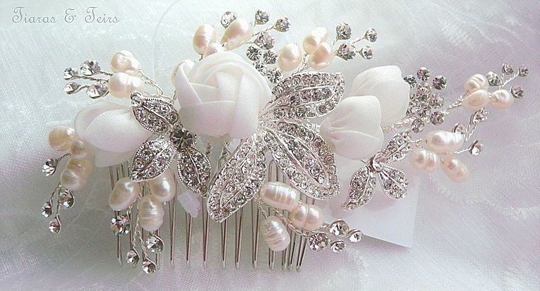 Flower and crystal wedding hair comb  - product images