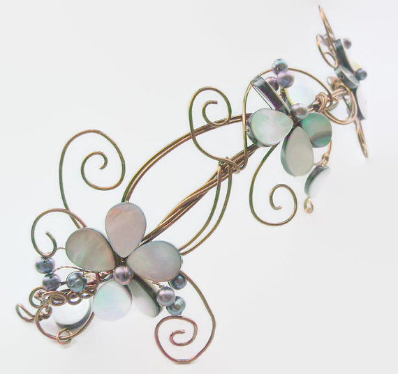 Antique bronze peacock pearl wedding headpiece - product images  of