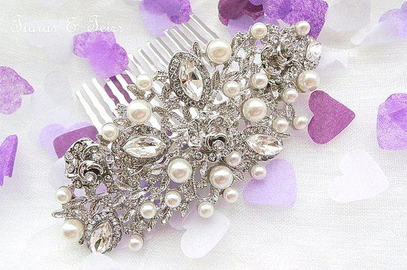 Vintage style pearl and crystal wedding hair comb - product images  of