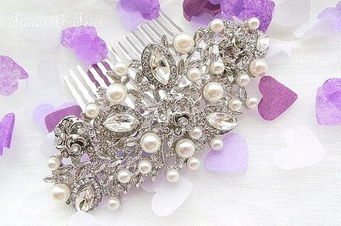 Vintage,style,pearl,and,crystal,wedding,hair,comb,vintage wedding hair comb, silver and pearl bridal hair comb, bridal hair accessory, vintage hair comb, vintage silver wedding hair comb, Tiaras And Teirs hair comb, hair combs uk, ornate bridal hair comb, wedding hair accessories, hair combs for weddings