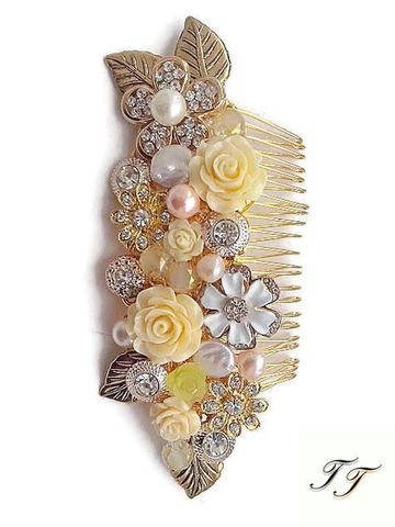 Vintage,gold,floral,wedding,hair,comb,Vintage gold floral wedding hair comb, gold wedding headpiece, headpieces for vintage brides, gold hair accessories for brides, uk gold hair combs, gold hair comb for brides, hair combs for vintage weddings, gold headpieces uk, vintage gold bridal hair co
